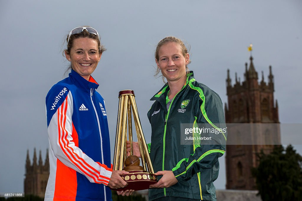 <a gi-track='captionPersonalityLinkClicked' href=/galleries/search?phrase=Charlotte+Edwards&family=editorial&specificpeople=618915 ng-click='$event.stopPropagation()'>Charlotte Edwards</a>, captain of England, and <a gi-track='captionPersonalityLinkClicked' href=/galleries/search?phrase=Meg+Lanning&family=editorial&specificpeople=5656168 ng-click='$event.stopPropagation()'>Meg Lanning</a>, captain of Australia, with The Ashes Trophy at the launch of The Women's Ashes Series at The County Ground on July 18, 2015 in Taunton, England.