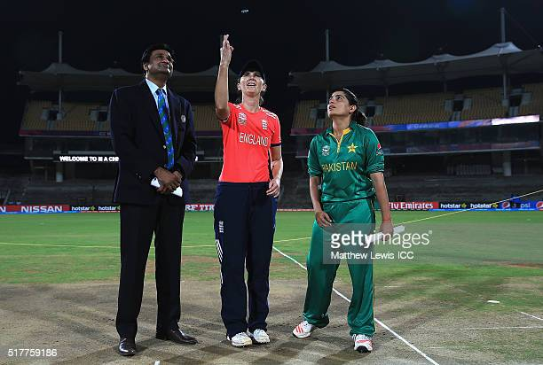 Charlotte Edwards Captain of England and Sana Mir Captain of Pakistan pictured during the coin toss ahead of the Women's ICC World Twenty20 India...