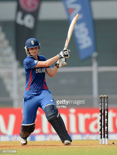 Charlotte Edwards captain of England bats during the 3rd/4th Place PlayOff game between England and New Zealand held at the CCI ground on February 15...