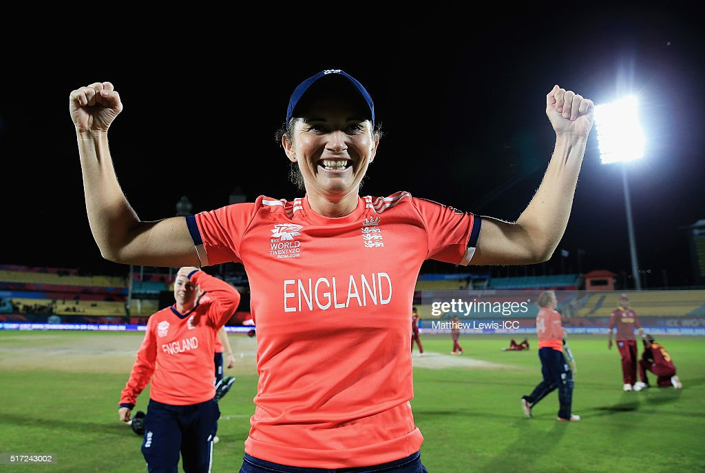 <a gi-track='captionPersonalityLinkClicked' href=/galleries/search?phrase=Charlotte+Edwards&family=editorial&specificpeople=618915 ng-click='$event.stopPropagation()'>Charlotte Edwards</a>, Captain of England celebrates her sides win against the West Indies during the Women's ICC World Twenty20 India 2016 match between England and the West Indies at the HPCA Stadium on March 24, 2016 in Dharamsala, India.