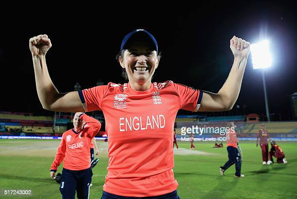 Charlotte Edwards Captain of England celebrates her sides win against the West Indies during the Women's ICC World Twenty20 India 2016 match between...