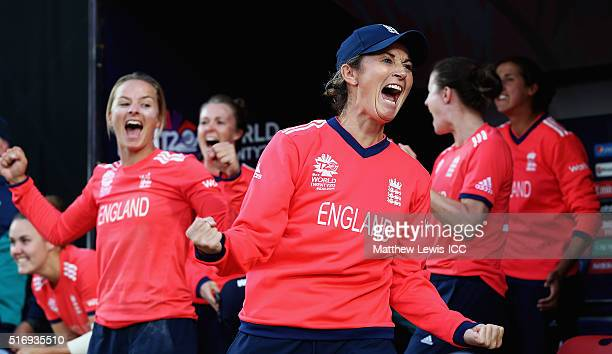 Charlotte Edwards Captain of England celebrates her teams win after the Women's ICC World Twenty20 India 2016 match between England and India at the...