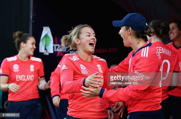 Charlotte Edwards Captain of England celebrates her teams win with Danielle Wyatt of England after the Women's ICC World Twenty20 India 2016 match...