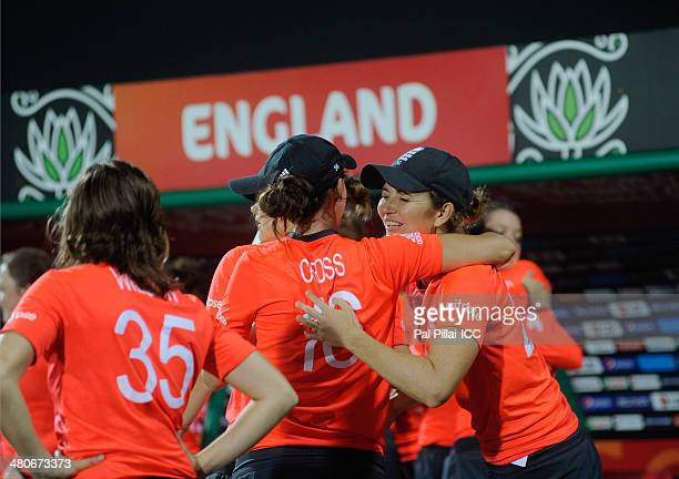 Charlotte Edwards captain of England celebrates with teammates after winning the ICC Womens World Twenty20 match between England and India played at...