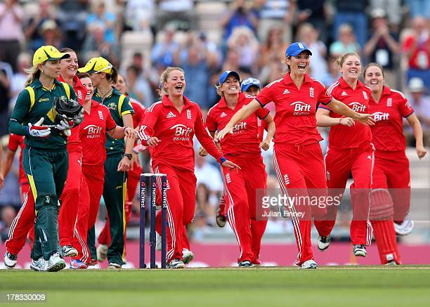 Charlotte Edwards Captain of England leads the celebrations after their win over Australia during the 2nd NatWest T20 match between England Women and...