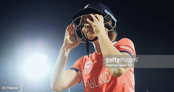 Charlotte Edwards Captain of England looks on as she prepares to go out to bat during the Women's ICC World Twenty20 India 2016 match between England...
