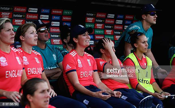 Charlotte Edwards Captain of England looks on with her team after losing against Australia during the Women's ICC World Twenty20 India 2016 Semi...