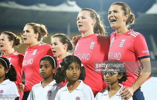 Charlotte Edwards Captain of England pictured during te National anthems with Anya Shrubsole of England during the Women's ICC World Twenty20 India...