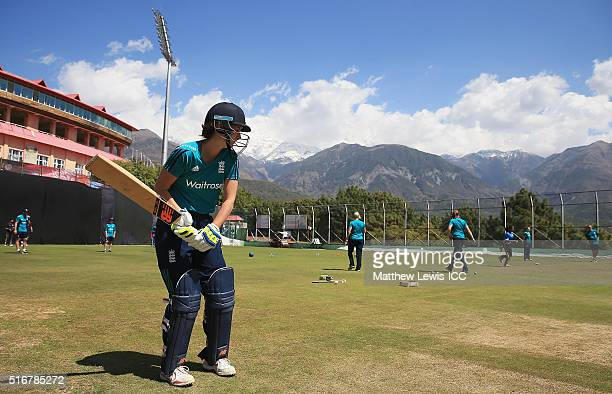 Charlotte Edwards Captain of England preapres to bat in the nets during a practice session during the Women's ICC World Twenty20 India 2016at the...