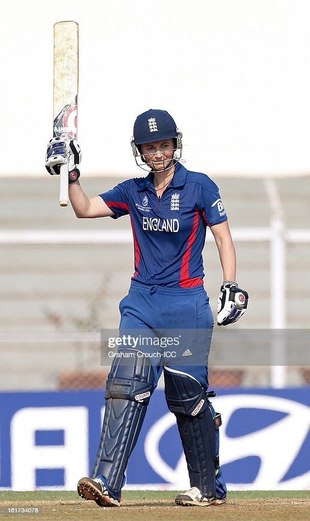Charlotte Edwards of England after scoring a century during the 3rd/4th Place Play-Off game between England and New Zealand at the Women's World Cup India 2013 at the Cricket Club of India ground on February 15, 2013 in Mumbai, India.