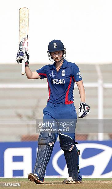 Charlotte Edwards of England after scoring a century during the 3rd/4th Place PlayOff game between England and New Zealand at the Women's World Cup...
