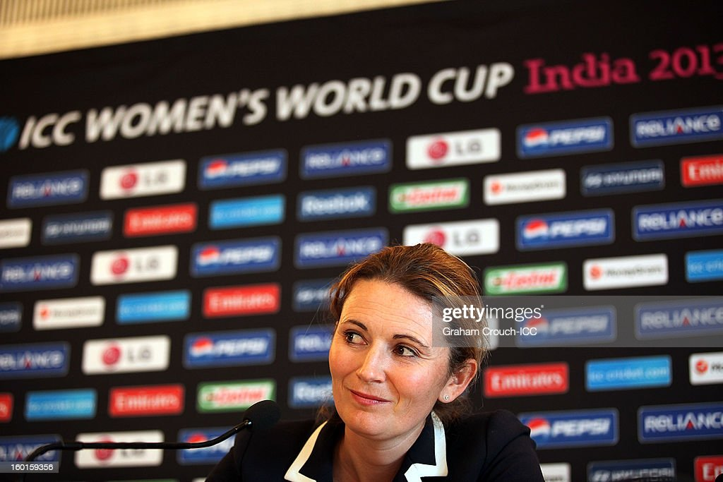 <a gi-track='captionPersonalityLinkClicked' href=/galleries/search?phrase=Charlotte+Edwards&family=editorial&specificpeople=618915 ng-click='$event.stopPropagation()'>Charlotte Edwards</a> of England at the ICC Womens World Cup trophy attends the Captains Group A Press Conference at the Taj Mahal Palace Hotel on January 27, 2013 in Mumbai, India.