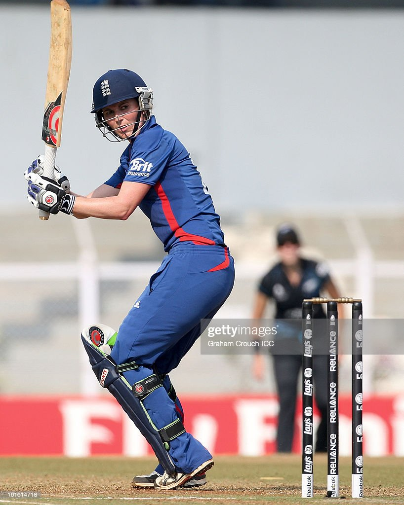 Charlotte Edwards of England batting during of the Super Sixes ICC Women's World Cup India 2013 match between New Zealand and England at the Cricket Club of India ground on February 13, 2013 in Mumbai, India.
