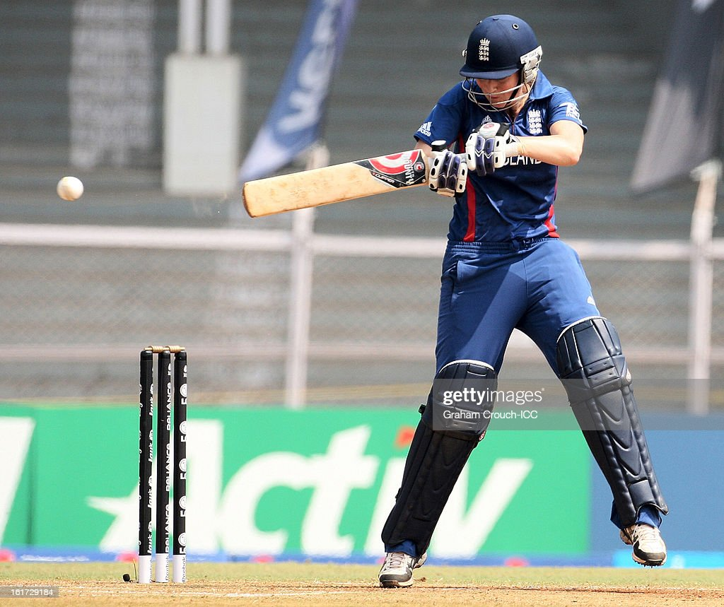 Charlotte Edwards of England batting during the 3rd/4th Place Play-Off game between England and New Zealand at the Women's World Cup India 2013 at the Cricket Club of India ground on February 15, 2013 in Mumbai, India.
