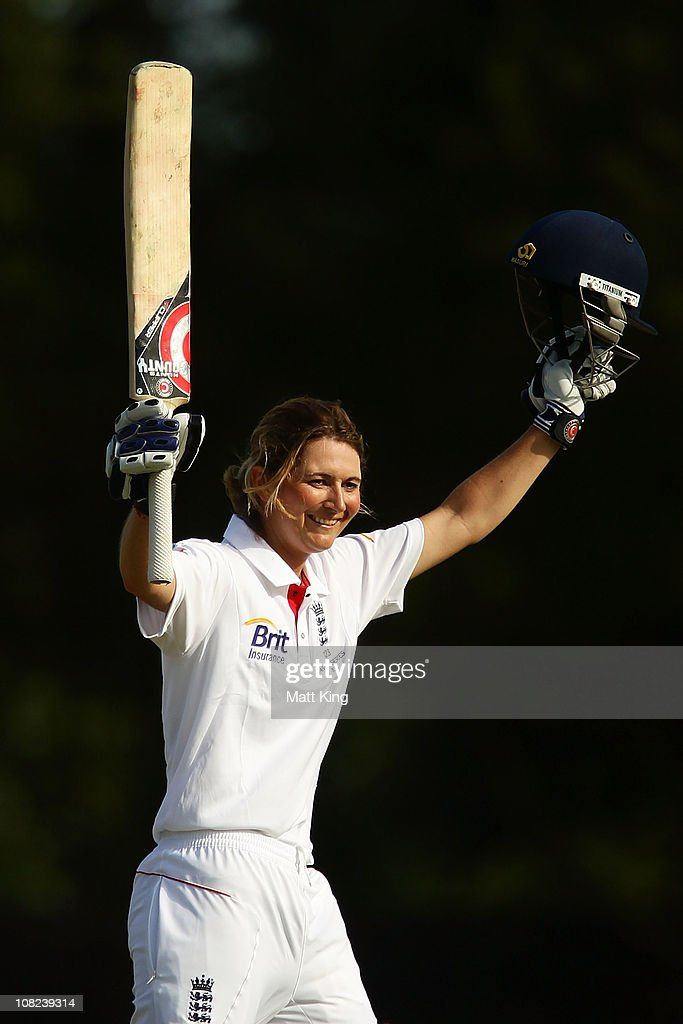 <a gi-track='captionPersonalityLinkClicked' href=/galleries/search?phrase=Charlotte+Edwards&family=editorial&specificpeople=618915 ng-click='$event.stopPropagation()'>Charlotte Edwards</a> of England celebrates scoring a century during day one of the Test match between Australia and England at Bankstown Oval on January 22, 2011 in Sydney, Australia.