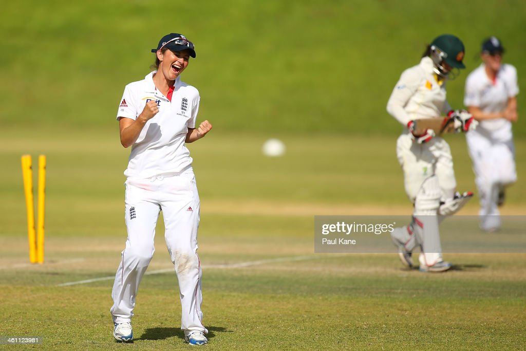 <a gi-track='captionPersonalityLinkClicked' href=/galleries/search?phrase=Charlotte+Edwards&family=editorial&specificpeople=618915 ng-click='$event.stopPropagation()'>Charlotte Edwards</a> of England celebrates the dismissal of Nicole Bolton of Australia during day two of the women's tour match between Australia Shooting Stars and England at Floreat Oval on January 7, 2014 in Perth, Australia.