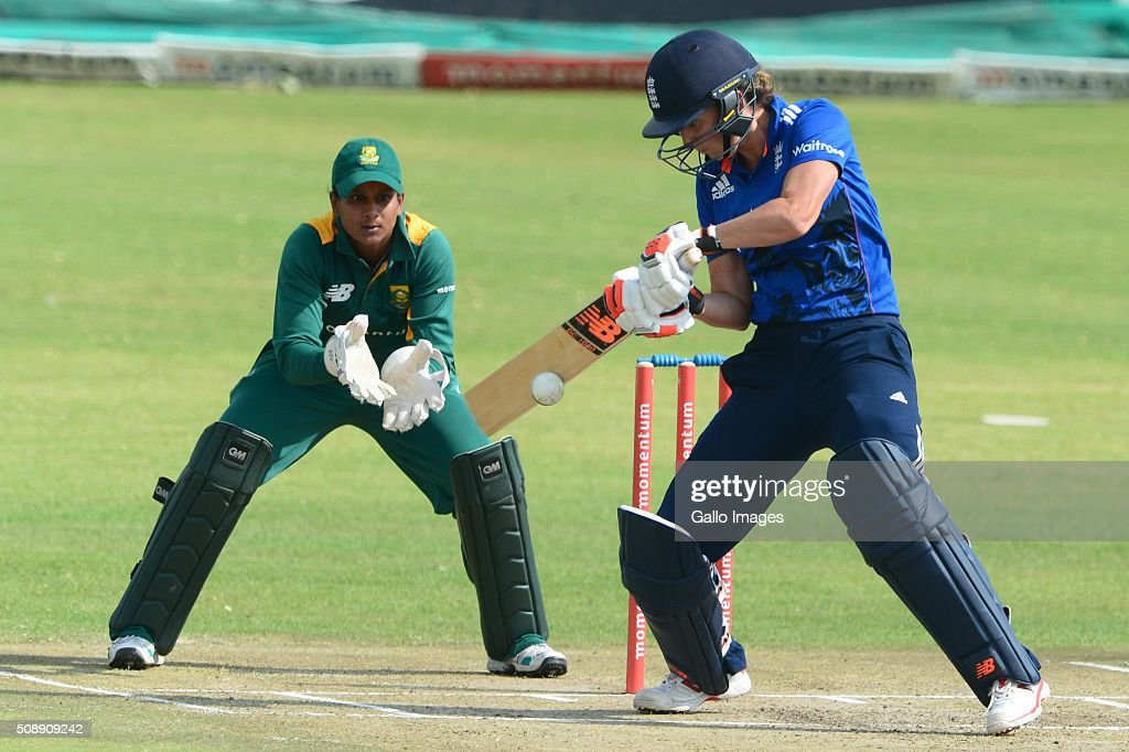 Charlotte Edwards of England during the One Day International match between South African Women and England Women at Willowmoore Park on February 07, 2016 in Benoni, South Africa.