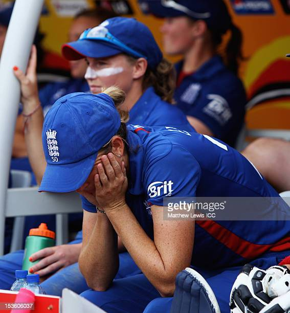 Charlotte Edwards of England looks on from the bench during the ICC Women's World Twenty20 2012 Final between England and Australia at R Premadasa...
