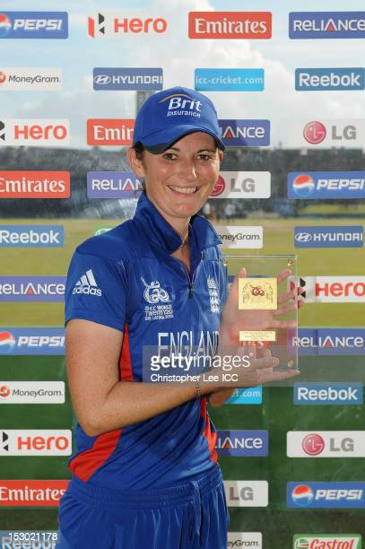 Charlotte Edwards of England poses for the camera with her Player of the Match award during the ICC Women's World Twenty20 2012 Group A match between...