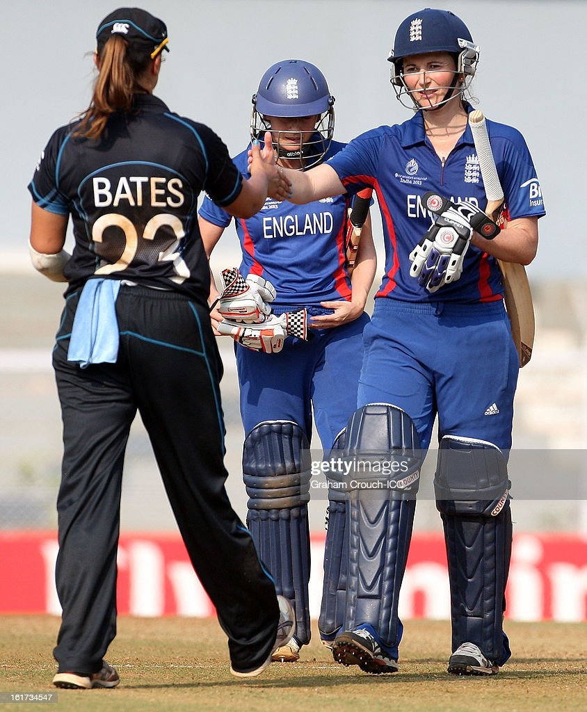 Charlotte Edwards of England shakes hands with Suzy Bates of New Zealand after England's victory in the 3rd/4th Place Play-Off game between England and New Zealand at the Women's World Cup India 2013 at the Cricket Club of India ground on February 15, 2013 in Mumbai, India.