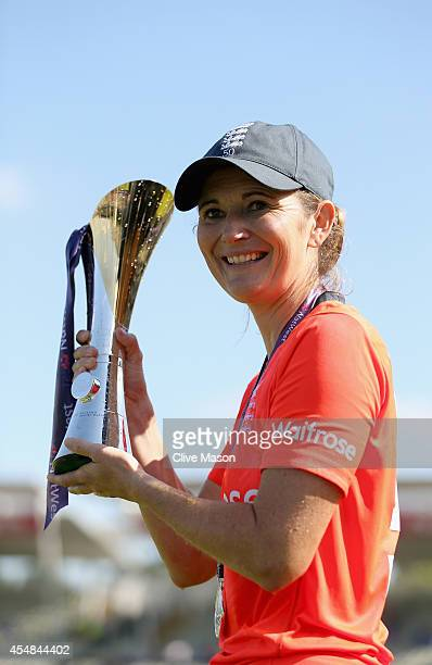Charlotte Edwards of England with the series trophy after her teams victory over South Africa after the NatWest Women's International T20 match...