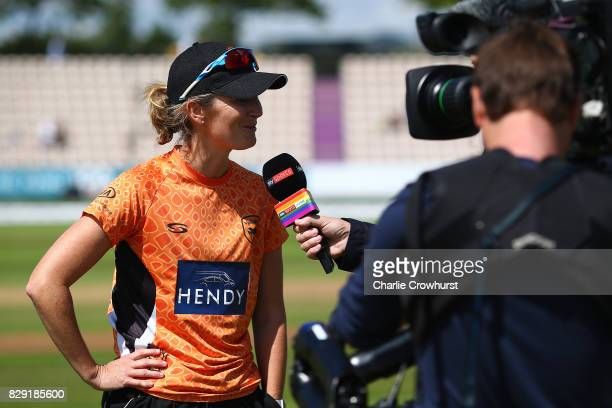 Charlotte Edwards of Southern Vipers chats to Michael Atherton of Sky Sports during the Kia Super League Match between Southern Vipers and Western...