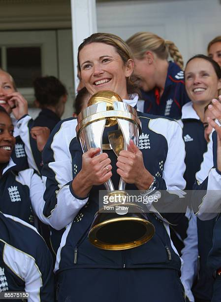 Charlotte Edwards the England captain holds the World Cup trophy after the England Womens Cricket Team won the ICC Womens World Cup at Lords Cricket...