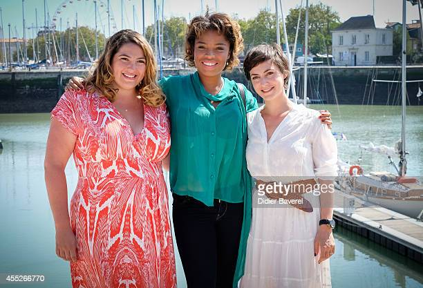 Charlotte Gaccio Jina Djemba and Marie Montoya attend the photocall of 'Interventions' as part of 16th Festival of TV Fiction of La Rochelle on...