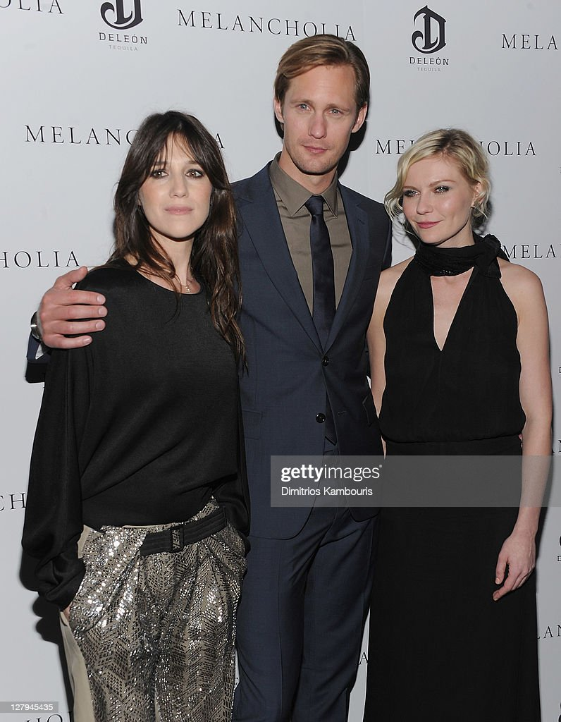 Charlotte Gainsbourg Alexander Skarsgard and Kirsten Dunst attend the 'Melancholia' premiere after party during the 49th annual New York Film...