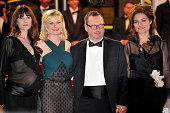 Charlotte Gainsbourg Kirsten Dunst Director Lars von Trier and Bente Froge at the premiere of 'Melancholia' during the 64th Cannes International Film...