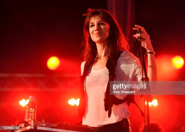 Charlotte Gainsbourg performs on stage during day three of Latitude Festival 2010 at Henham Park Estate on July 18 2010 in Southwold England
