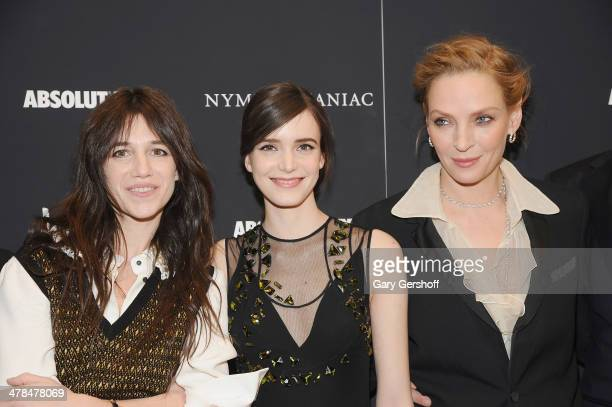 Charlotte Gainsbourg Stacy Martin and Uma Thurman attend the 'Nymphomaniac Volume I' screening at The Museum of Modern Art on March 13 2014 in New...