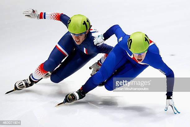 Charlotte Gilmartin of Great Britain and Veronique Pierron of France compete in the Womens 1000m heats during day 1 of the ISU European Short Track...