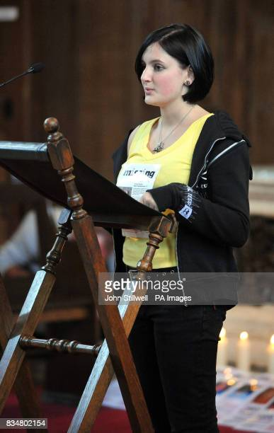 Charlotte Gosden gives a reading at St James Church in Piccadilly central London during a service to mark the one year anniversary of her 14 yearold...