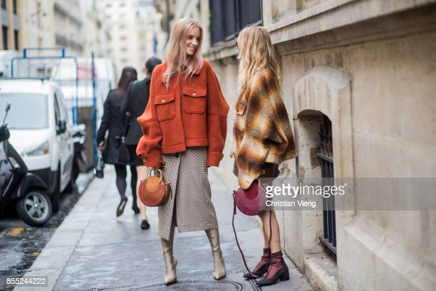 Charlotte Groeneveld and Courtney Trop is seen outside Chloe during Paris Fashion Week Spring/Summer 2018 on September 28 2017 in Paris France
