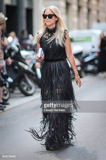 Charlotte Groeneveld is seen after the Elie Saab show during Paris Fashion Week Haute Couture F/W 2016/2017 on July 6 2016 in Paris France