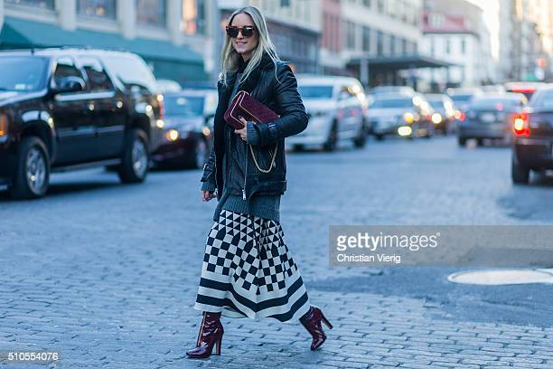 Charlotte Groeneveld is wearing a red Chanel bag a Maison Valentino black white plaid skirt seen outside Diane von Furstenberg during New York...