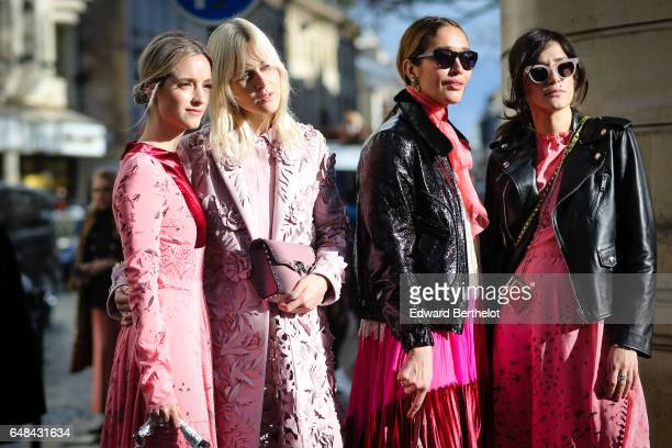 Charlotte Groeneveld Linda Tol Tiany Kiriloff and Eleonora Carisi outside the Valentino show during Paris Fashion Week Womenswear Fall/Winter...