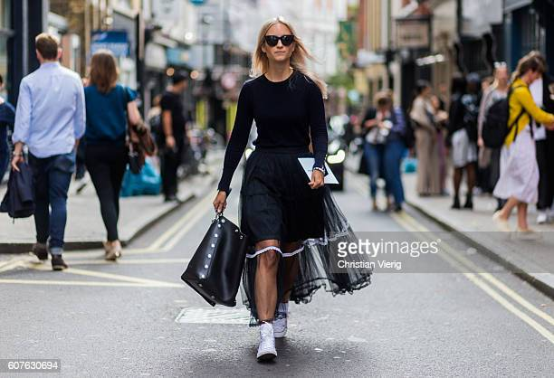 Charlotte Groeneveld outside Mary Katrantzou during London Fashion Week Spring/Summer collections 2017 on September 18 2016 in London United Kingdom