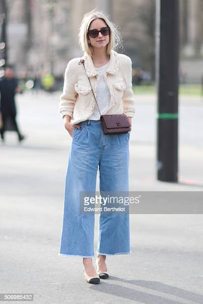 Charlotte Groeneveld wearing a Dijkstra Dijkstra Styling jacket and a Chanel bag after the Chanel show during Paris Fashion Week Haute Couture Spring...