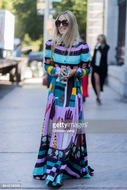 Charlotte Groeneveld wearing a dress with pattern seen in the streets of Manhattan outside Tory Burch during New York Fashion Week on September 8...