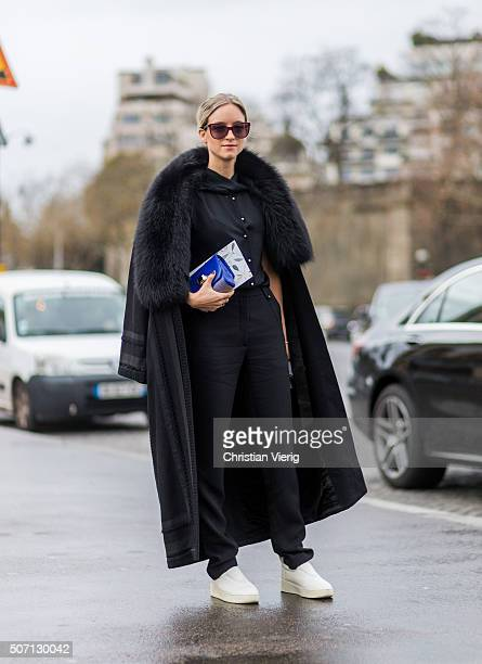 Charlotte Groeneveld wearing Elie Saab outside Elie Saab during the Paris Fashion Week Haute Couture Spring/Summer 2016 on January 27 2016 in Paris...