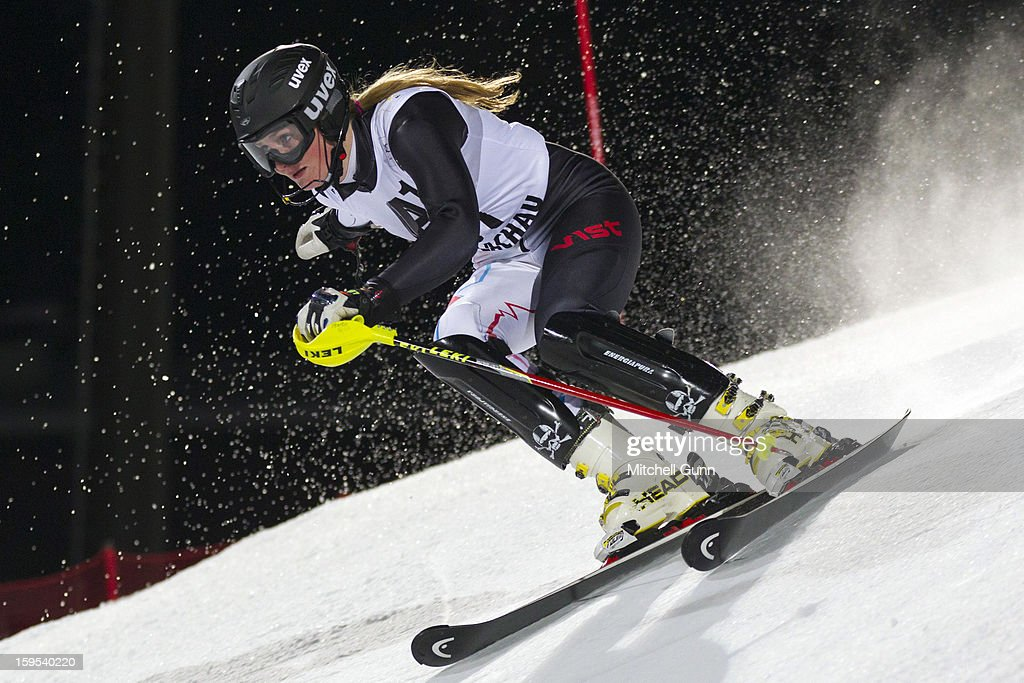 Charlotte Guest of Great Britain races down the course whilst competing in the Audi FIS Alpine Ski World Cup Slalom race on January 15, 2013 in Flachau, Austria.