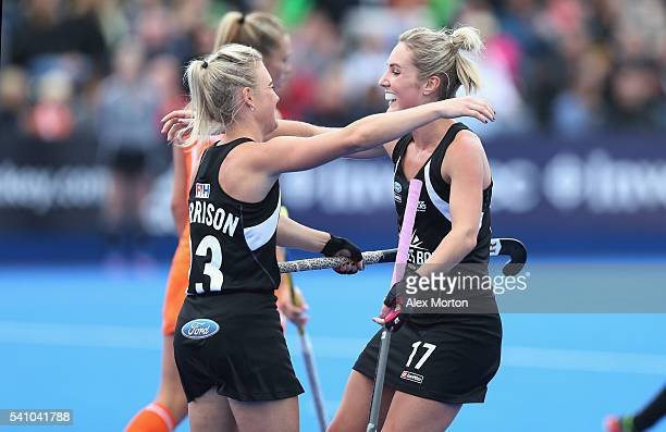 Charlotte Harrison of New Zealand celebrates scoring their first goal during the FIH Women's Hockey Champions Trophy match between Netherlands and...