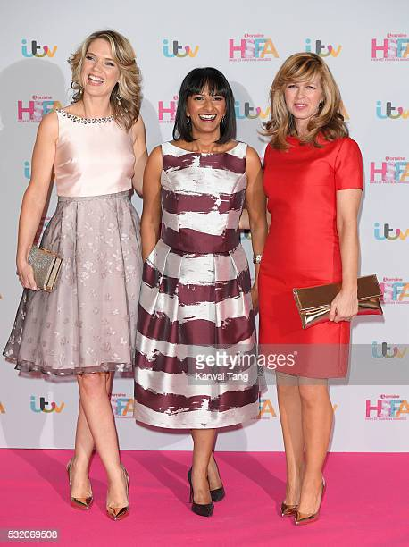 Charlotte Hawkins Ranvir Singh and Kate Garraway attend the Lorraine's High Street Fashion Awards at Grand Connaught Rooms on May 17 2016 in London...
