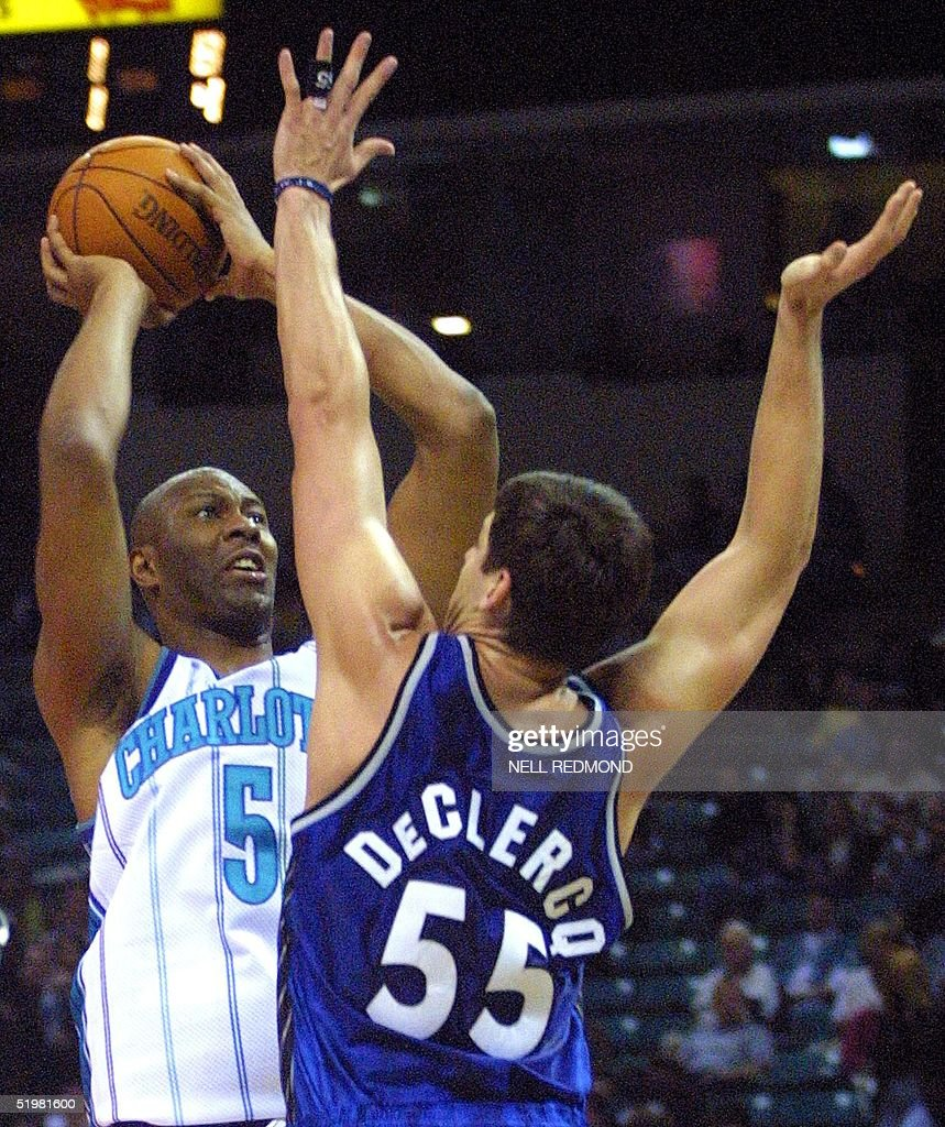 Charlotte Hornets center Elden Campbell shoots ov