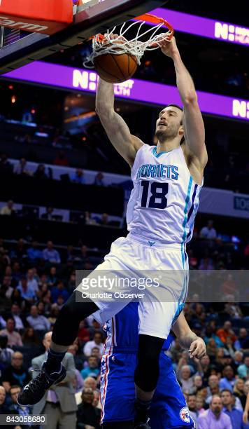 Charlotte Hornets center Miles Plumlee throws down a twohanded dunk during first half action against the Philadelphia 76ers on Monday Feb 13 2017 at...