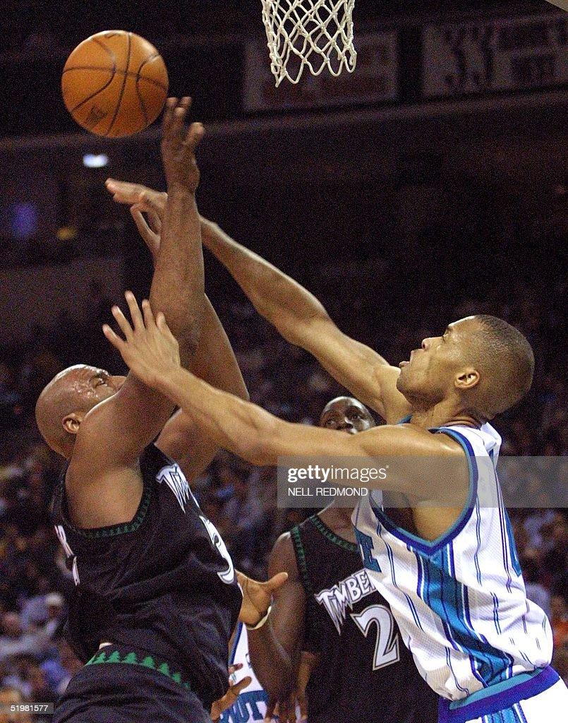Charlotte Hornets forward P J Brown R fouls Mi