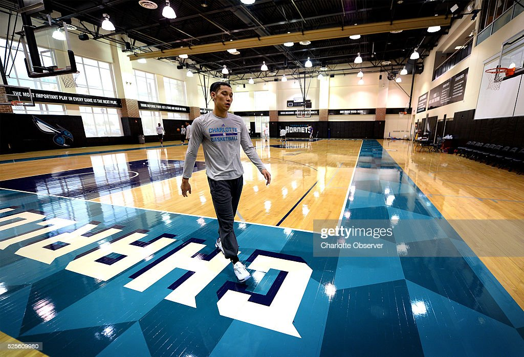 Charlotte Hornets guard Jeremy Lin exits the Novant Health Training Center court at Time Warner Cable Arena in Charlotte, N.C., to speak with the media on Thursday, April 28, 2016. The Hornets will face the Miami Heat in Game 6 of the Eastern Conference quarterfinals on Friday.