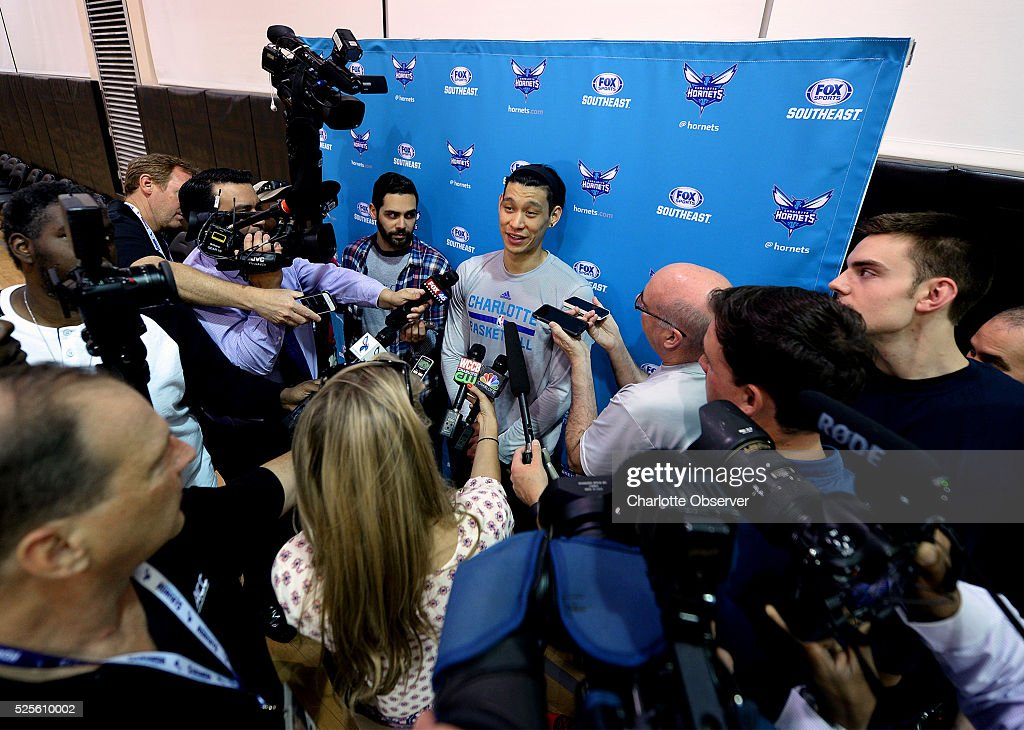 Charlotte Hornets guard Jeremy Lin smiles as he responds to a reporter's question at the Novant Health Training Center court at Time Warner Cable Arena in Charlotte, N.C., on Thursday, April 28, 2016. The Hornets will face the Miami Heat in Game 6 of the Eastern Conference quarterfinals on Friday.